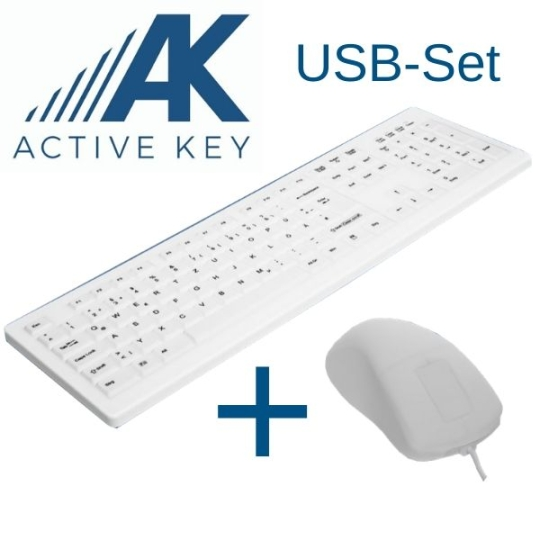 ACTIVE KEY USB-Aktionsbundle weiß Hygienetastatur + Hygienemaus